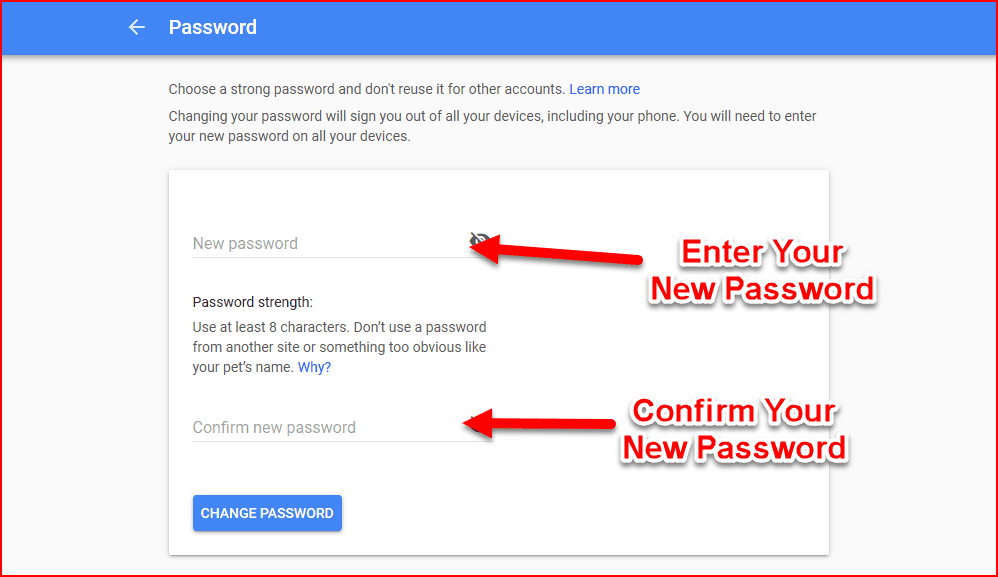 Change Password In Gmail