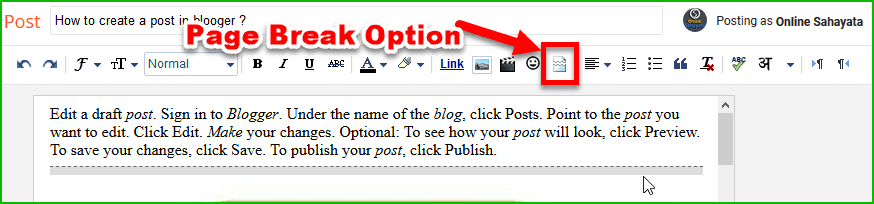 Page Break Option in Blogger
