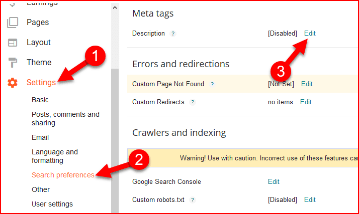 how to enable search description in blogger