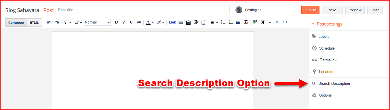 search description in blogger